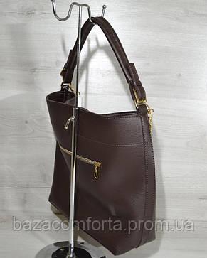Сумка- цепочка коричневого цвета, фото 2