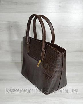 Классическая женская сумка «Две змейки» коричневый крокодил, фото 2