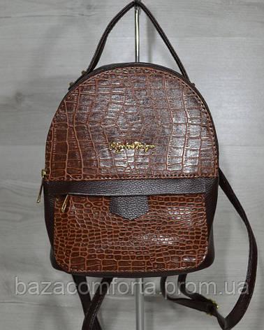Рюкзак среднего размера коричневый с вставкой рыжий кродил, фото 2