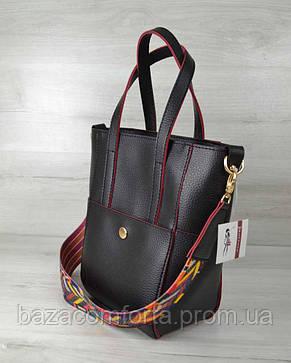 Молодежная женская сумка Милана  с Ярким ремнем черная с красными торцами, фото 2