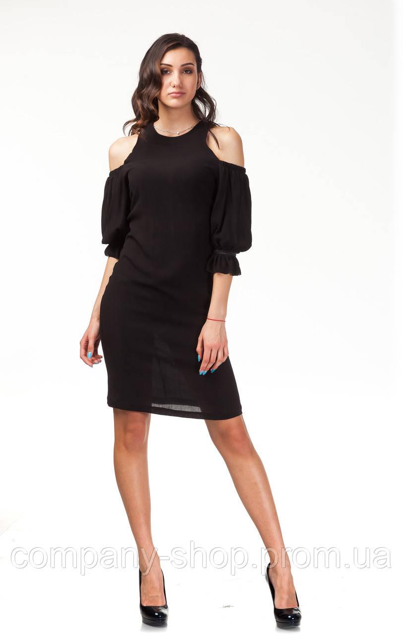 Платье с открытыми плечами. Модель П120_жатка черная