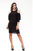 Платье с открытыми плечами. Модель П120_жатка черная, фото 1