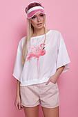 Блуза нежная белая с фламинго