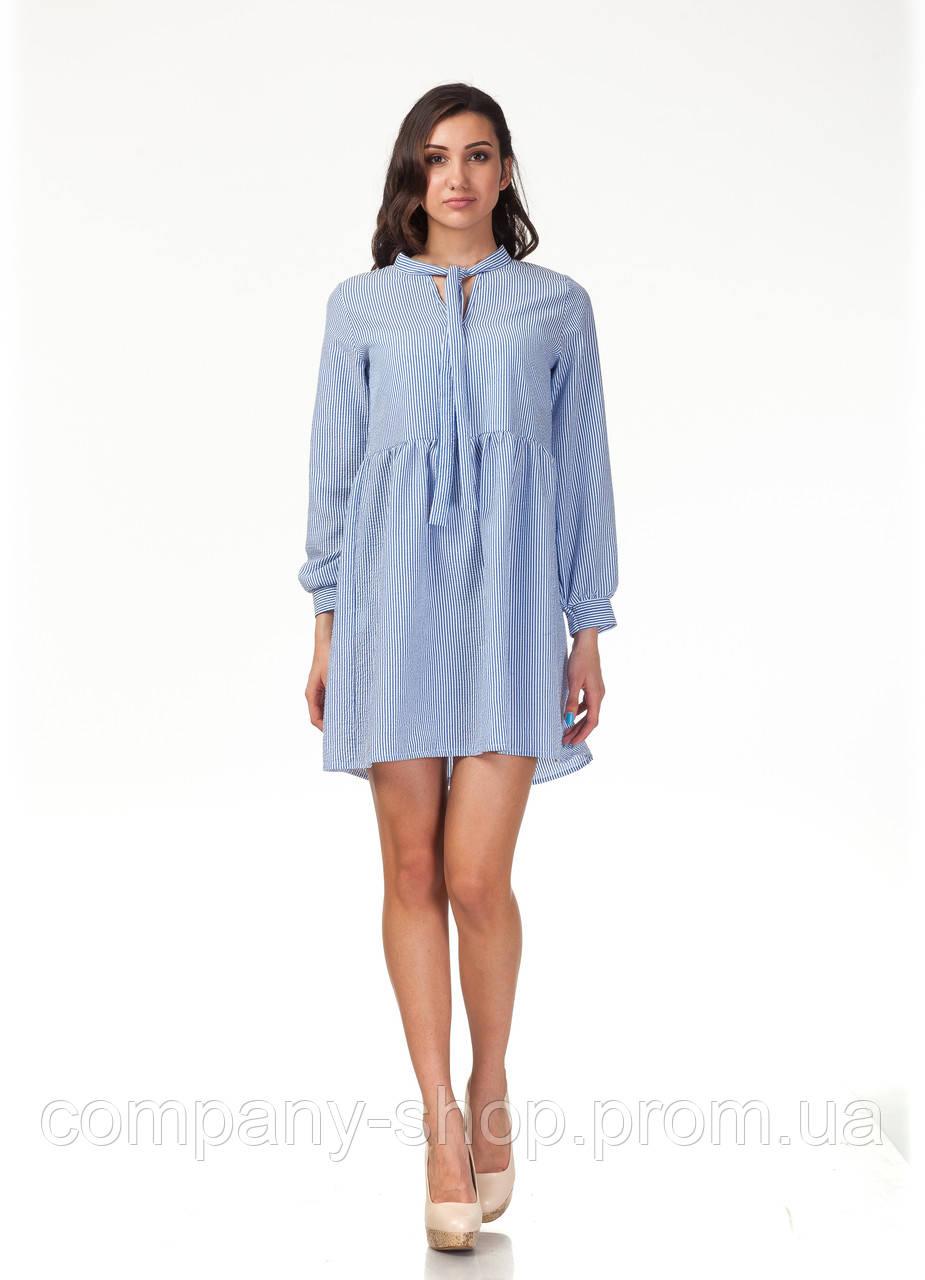 Платье свободное с бантом. Модель П121_полоска синяя