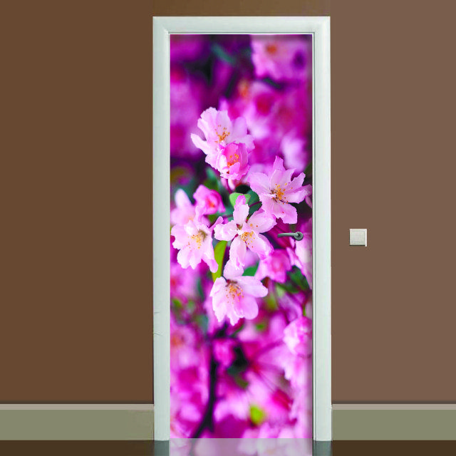 Акция ВЕСНА! Наклейка на дверь Цветение 02, (полноцветная фотопечать, пленка для двери)
