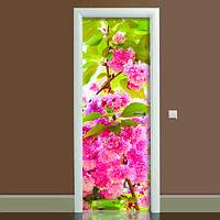 Наклейка на дверь Цветение 01, (полноцветная фотопечать, пленка для двери)