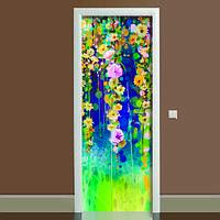 Наклейка на дверь Цветение, (полноцветная фотопечать, пленка для двери)