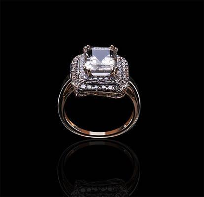Золотое кольцо с цитрином и бриллиантами С18Л1№8