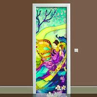 Наклейка на дверь Батик 01, (полноцветная фотопечать, пленка для двери)