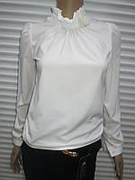 Шифоновая белая блуза с длинным рукавом р 152