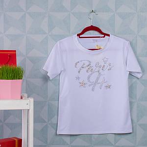 Женская футболка с бусинами и стразами. A-031-2. Размер 44-46.