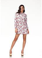 Платье свободное с бантом. Модель П121_цветы на белом, фото 1
