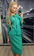 """Костюм женский юбка и пиджак """"Chanel"""" ft-249 бирюзовый"""