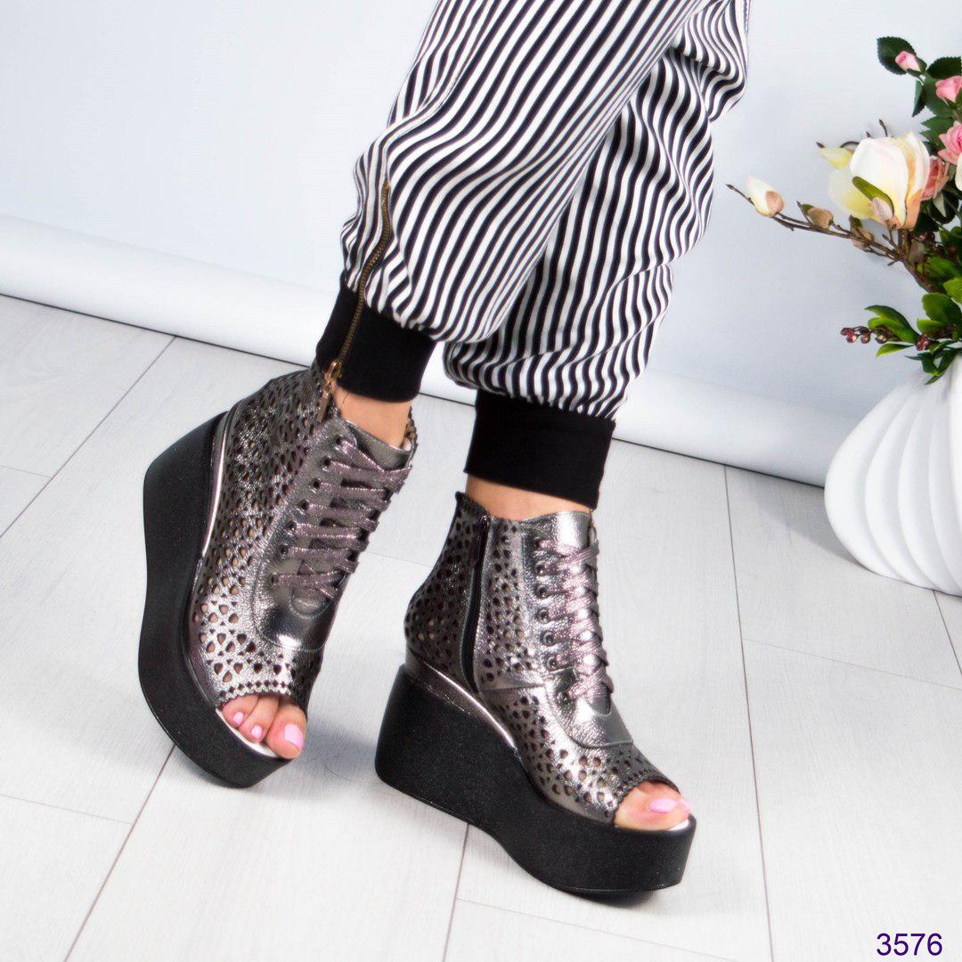 Женские летние ботинки на платформе,перфорация.Натуральная кожа сатин. -   МОДНЫЙ e109af3db4e