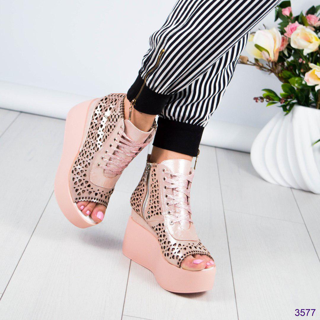 Женские летние ботинки на платформе,перфорация пудра.Натуральная кожа сатин.  -   d3a1c2af07a