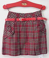 Бордовая юбка в клетку с карманами