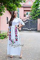 Юбка вышитая, льняная юбка бохо этно стиль, длинная белая юбка с вышивкой, летняя юбка