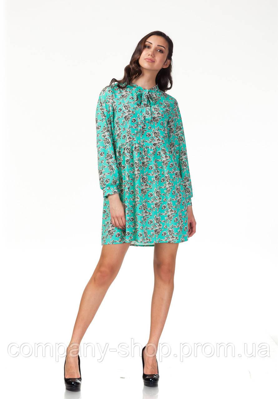 Платье свободное с бантом. Модель П121_бирюзовые цветочки