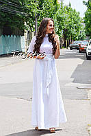 Юбка бохо этно стиль юбка лен вышитая, длинная белая юбка с вышивкой, летняя юбка