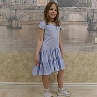 Платье (1018) горошек белый (хвостик), фото 1