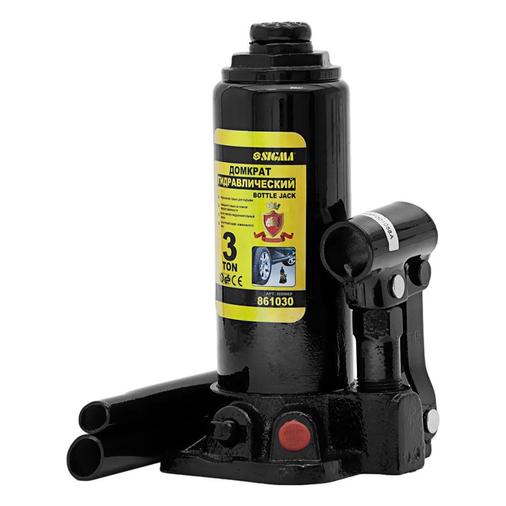 Домкрат гидравлический бутылочный 3т H 194-372мм (кейс) sigma 6102031