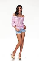 Летняя блуза со спущенными рукавами. Модель К088_хлопок клетка розовая, фото 1
