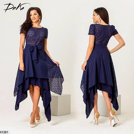 Летнее платье асимметрия полуприталенное под пояс темно синее, фото 2