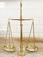 Винтажные коромысловые латунные весы с гирями, латунь, Англия, фото 1