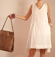 Оригинальное летнее платье из льна, сарафан льняной, фото 1