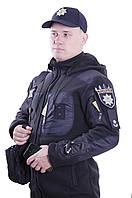 """Кофта флисовая Полиция """"МЕДВЕДЬ"""" ТАКТИЧЕСКАЯ на МЕХУ Черная 450гр/м с капюшоном"""