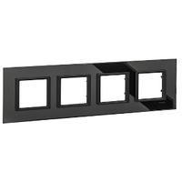 Рамка 4-местная Черное стекло Unica Class Schneider, MGU68.008.7C1