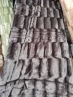 Стильное норковое покрывало темно-серого цвета, фото 1