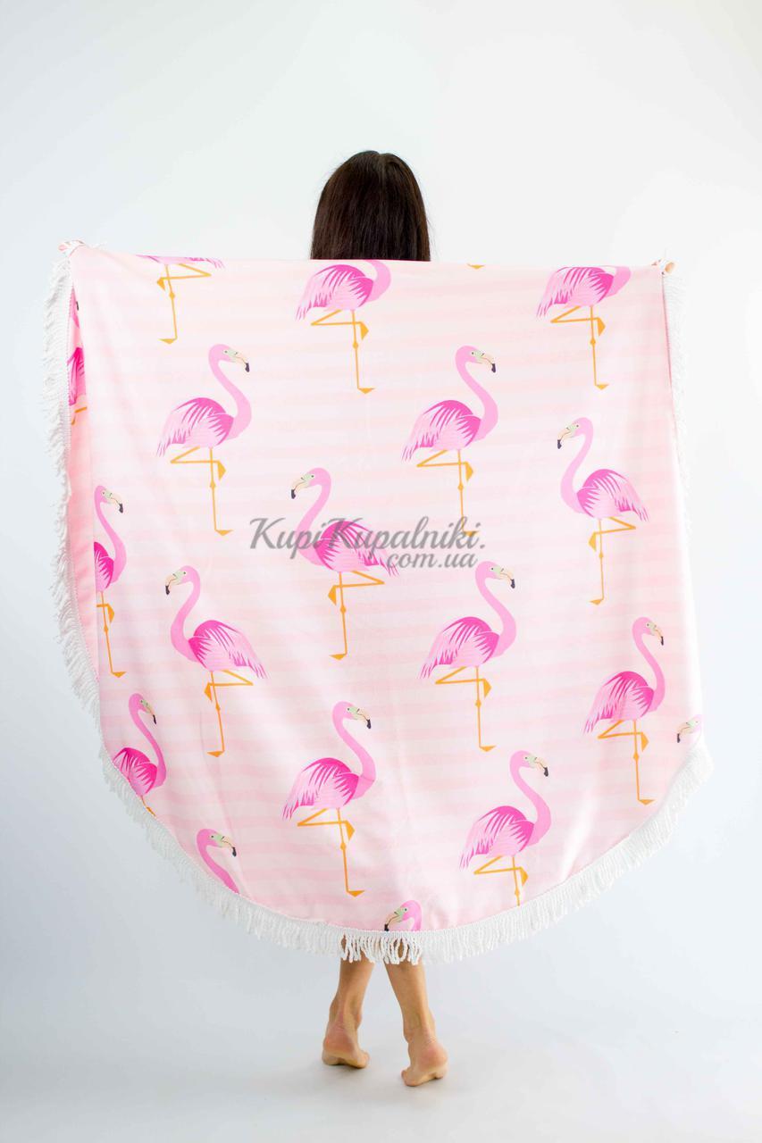 Покрывало пляжное круглое розовое фламинго на полосатом 150*150