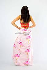 Покрывало пляжное круглое розовое фламинго на полосатом 150*150, фото 3