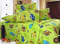 """Детское постельное белье """"Тачки"""" на зеленом фоне бязь"""
