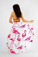 Покрывало пляжное круглое белое с фламинго 150*150, фото 2