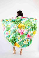 Покрывало пляжное круглое ананасы с цветами 150*150