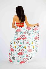 Покрывало пляжное круглое Фламинго Трендовое микрофибра антипесок Пляжное полотенце коврик круглое, фото 3