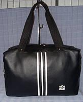 Cумка спортивная Adidas черная эко-кожа, фото 1