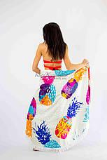Покрывало пляжное круглое ананасы цветные микрофибра антипесок Пляжное полотенце коврик круглое 150*150, фото 3