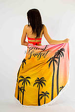 Покрывало пляжное круглое  пальмы закат  150*150, фото 2