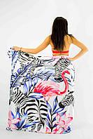 Покрывало пляжное   зебры и фламинго 150*200