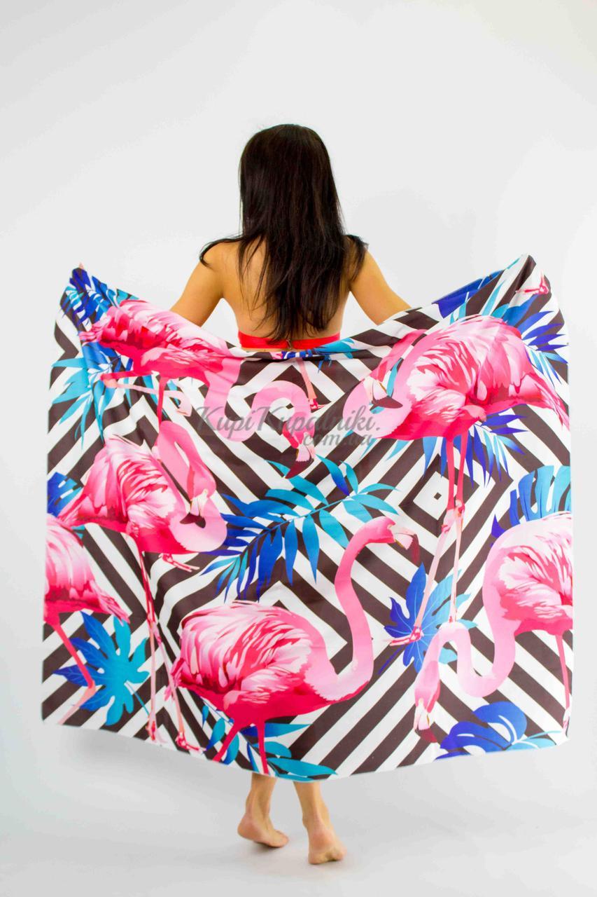 Покрывало пляжное   фламинго  и синие листья  150*130