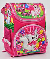 Ранец школьный каркасный Кошечка 1, 2 класс. Для девочек. Рюкзак, портфель ортопедический для школы