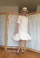 Легкое тонкое платье из льна с пышным валаном, фото 1
