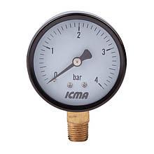 """Манометр нижнего.подключ.1/4   0- 4 бар """"Icma"""" №244"""