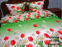 Постельное белье в тюльпаны Ранфорс полуторное