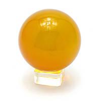 Шар хрустальный на подставке оранжевый (8 см) , Изделия из хрусталя