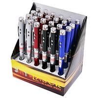 Фонарик-брелок 3в1 (ручка, led-фонарь, лазерная указка), 601 / 21l / 9621, стробоскоп, 2 led, упаковка 24 шт.