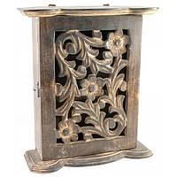 Ключница резная манговое дерево (22,5х18х7,5 см) , Картины, Бабочки в рамке, Панно, Ключницы